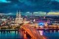 Картинка мост, город, огни, река, вечер, Германия, Кёльнский собор