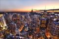 Картинка закат, горизонт, небо, США, огни, Нью-Йорк, небоскрёбы