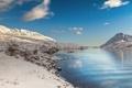 Картинка зима, небо, снег, горы, река