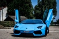 Картинка Lamborghini, перед, blue, aventador, ламборгини, авентадор