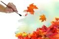Картинка осень, листья, ветер, рука, кисть
