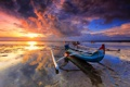 Картинка небо, закат, отражение, океан, лодка, Тайланд