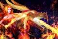 Картинка девушка, огонь, пламя, дракон, арт, рога, Slayer