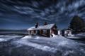 Картинка море, ночь, берег, дома