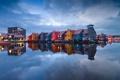 Картинка вода, огни, отражение, дома, вечер, Нидерланды, Гронинген