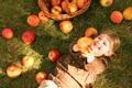 Картинка осень, трава, дети, корзина, яблоки, ребенок, девочка