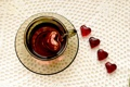 Картинка чай, сердце, чашка, сердечки, напиток, скатерть, заварник