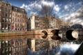 Картинка мост, отражение, река, дома, Амстердам, Amsterdam