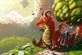 Картинка бабочки, дом, дерево, дракон, арт, дорожка, рыцарь