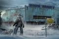 Картинка зима, снег, здание, мужик, собака, арт, The last of us 2