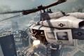 Картинка город, огонь, вертолет, Battlefield 4