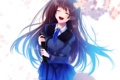 Картинка девушка, цветы, улыбка, аниме, сакура, арт, форма
