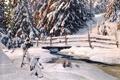 Картинка пейзаж, Anshelm Schultzberg, река, деревья, зима, елки, снег