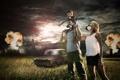Картинка поле, машина, взрыв, город, апокалипсис, москвич, Конец света