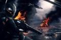 Картинка самолет, война, автомат, шлем, под огнем