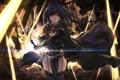 Картинка девушка, улыбка, оружие, магия, меч, аниме, арт