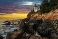 Картинка море, небо, тучи, скала, маяк