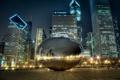 Картинка ночь, город, огни, отражение, Чикаго, millennium park, Spaceship Earth