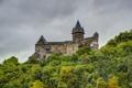 Картинка лес, горы, город, фото, замок, Германия, Bacharach