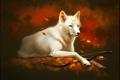 Картинка лес, листья, волк, лук, арт, защитник, White wolf