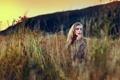 Картинка поле, трава, природа, Девушка, красивая