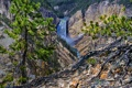 Картинка деревья, река, скалы, водопад, Wyoming, сша, Yellowstone