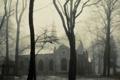 Картинка зима, туман, мгла, Mist, костел, Church, Fog