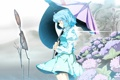 Картинка девушка, цветы, природа, зонтик, дождь, арт, touhou