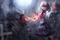 Картинка пламя, кресты, Девушка
