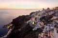 Картинка закат, пейзаж, дома, остров, Греция, море