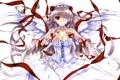 Картинка девушка, ленты, розы, крылья, платье, арт, повязка