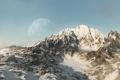 Картинка снег, горы, фантастика, планета, арт, гряда