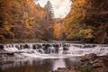 Картинка осень, река, водопад