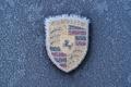 Картинка зима, иней, логотип, Porsche, замёрзший