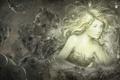 Картинка девушка, лицо, волосы, арт, зомби, цепи, ярлыки