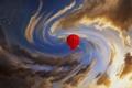 Картинка небо, облака, птицы, красный, воздушный шар, арт