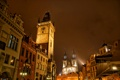 Картинка небо, ночь, огни, часы, башня, Прага, Чехия