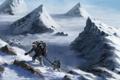 Картинка высота, арт, горы, снег, вершины, альпинисты