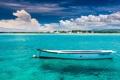 Картинка небо, облака, лодка, остров, Океан, Маврикий