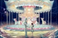 Картинка девушка, рыбки, пузыри, заяц, аниме, лошади, арт