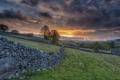 Картинка закат, забор, Англия, England, Grassington, Грассингтон