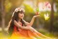 Картинка лето, настроение, девочка, журавлики