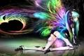 Картинка цвета, девушка, абстракция, крылья, Hatsune Miku, Vocaloid