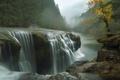 Картинка природа, лес, осень, река, водопад