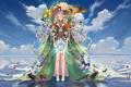 Картинка небо, вода, девушка, облака, бабочки, цветы, отражение