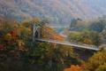 Картинка лес, осень, деревья, склон, горы, мост, река