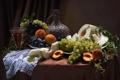 Картинка виноград, сливы, фрукты, натюрморт, вино, персики, дыня