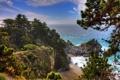 Картинка пляж, деревья, обрыв, океан, скалы, водопад