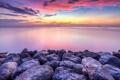 Картинка камни, океан, рассвет, берег, горизонт
