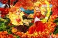 Картинка осень, листья, деревья, дом, огонь, девочки, желтые